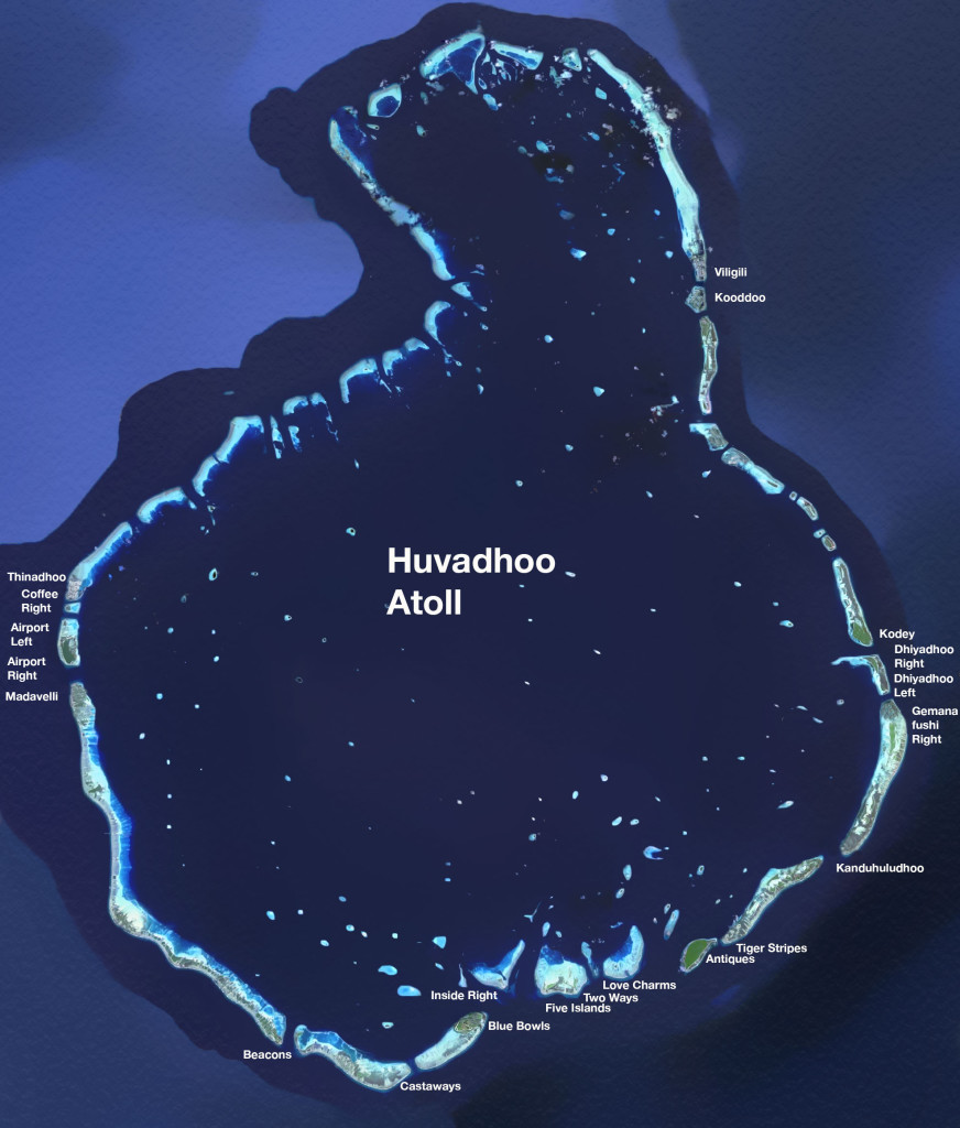 Surf Spots and Waves of the Huvadhoo Atoll in the Maldives